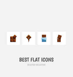Flat icon cacao set of delicious wrapper bitter vector