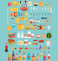 Fooddrinks and kitchenware flat vector