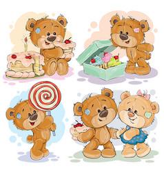 Funny with teddy bear on the theme vector