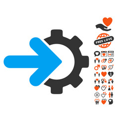 Gear integration icon with love bonus vector
