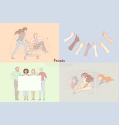 girlfriends having fun hands show thumbs up vector image