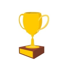 Golden trophy cup cartoon icon vector image