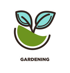 Green plant growing from earth logo design two vector