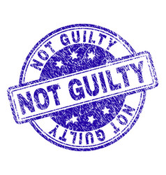 Grunge textured not guilty stamp seal vector