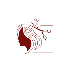 hairdressing salon hair stylist logo beauty girl vector image