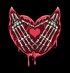 hand devils skull and heart and the vector image