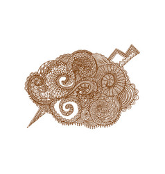 hand drawn isolated cloud in zentangle style vector image
