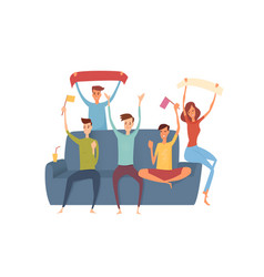 happy friends emotionally watching sports on tv vector image