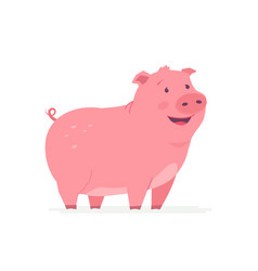 happy pig - modern cartoon character vector image