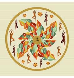 Human leaves yoga mandala vector image vector image