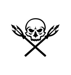 human skull crossed fishing spear mascot vector image