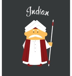 Indian man or cartoon charachter in turban with vector