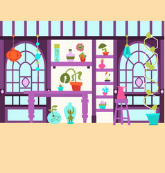 Interior of the magical greenhouse vector