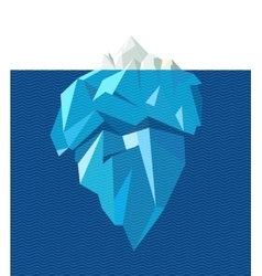 Isolated full big iceberg with line blue waves vector