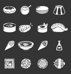 Japan food icons set grey vector