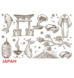 Japan symbols japanese nature and culture vector