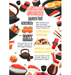 japanese food sushi roll and drink menu banner vector image