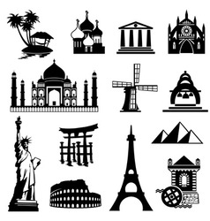 landmarks icons set vector image