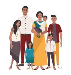 large family portrait indian mother father and vector image