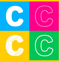 letter c sign design template element four styles vector image