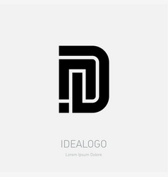 letter n and d logo design minimal monochrome vector image