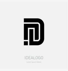 Letter n and d logo design minimal monochrome vector