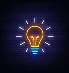 Light bulb neon sign bulb design vector