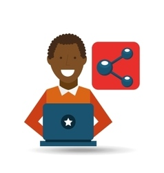 man afroamerican using laptop share media icon vector image