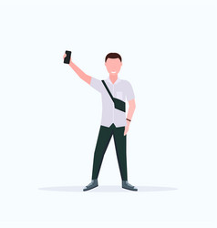man taking selfie photo on smartphone camera vector image