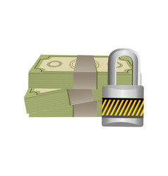 Many cash bills with padlock security vector
