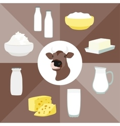 Milk set products vector image