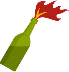 Molotov cocktail icon flat isolated vector