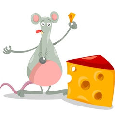 Mouse with cheese cartoon vector