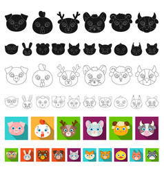 muzzles of animals flat icons in set collection vector image