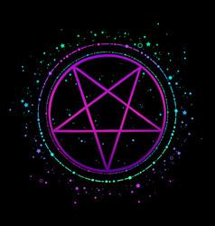 mystical bright pentagram in round frame vector image
