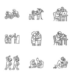 older person icon set outline style vector image