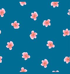Peach blossom seamless on indigo blue background vector