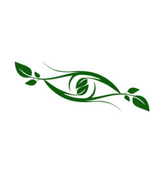 plant leaves abstract eye logo icon nature green vector image