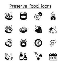 Preserved food icons set graphic design vector