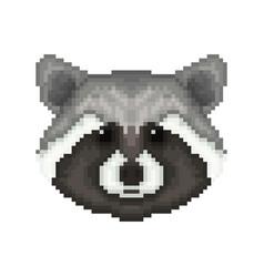 raccoon head in pixel art style vector image