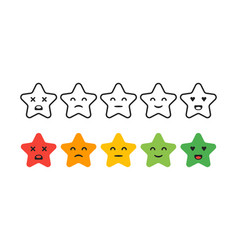 Satisfaction rating set of feedback star icons in vector
