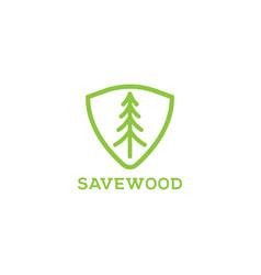 save wood logo design template vector image