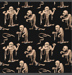 Seamless pattern with mummies on black background vector