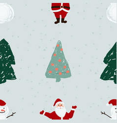 seamless pattern with santa snowmen and christmas vector image