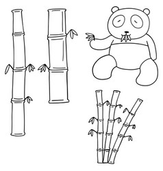 set of bamboo and panda vector image