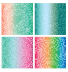 set of cards with indian mandala on colorful vector image