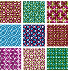 Set of colorful dotted seamless patterns bright vector