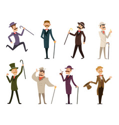 Set of english victorian gentlemen characters in vector