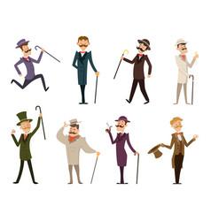 Set of english victorian gentlemen characters vector