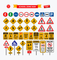 Set of school sign zone pedestrian and other str vector